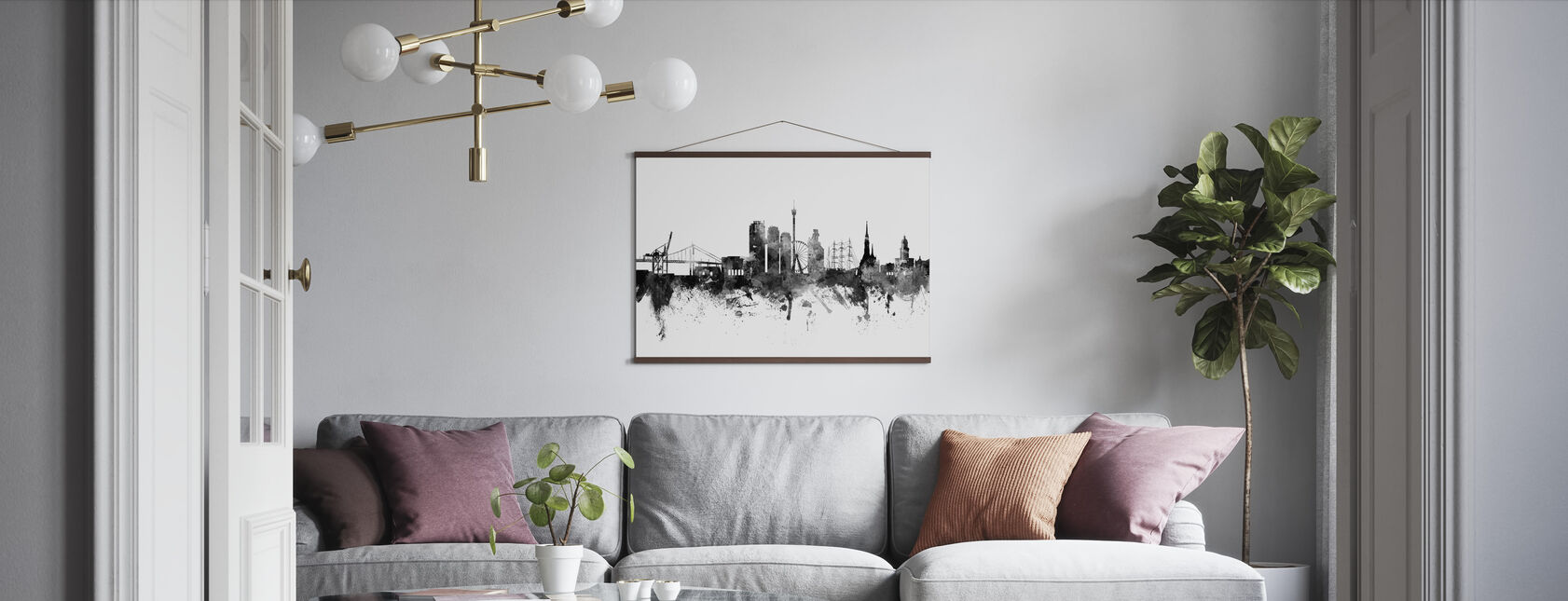 Göteborg Skyline Black - Poster - Vardagsrum