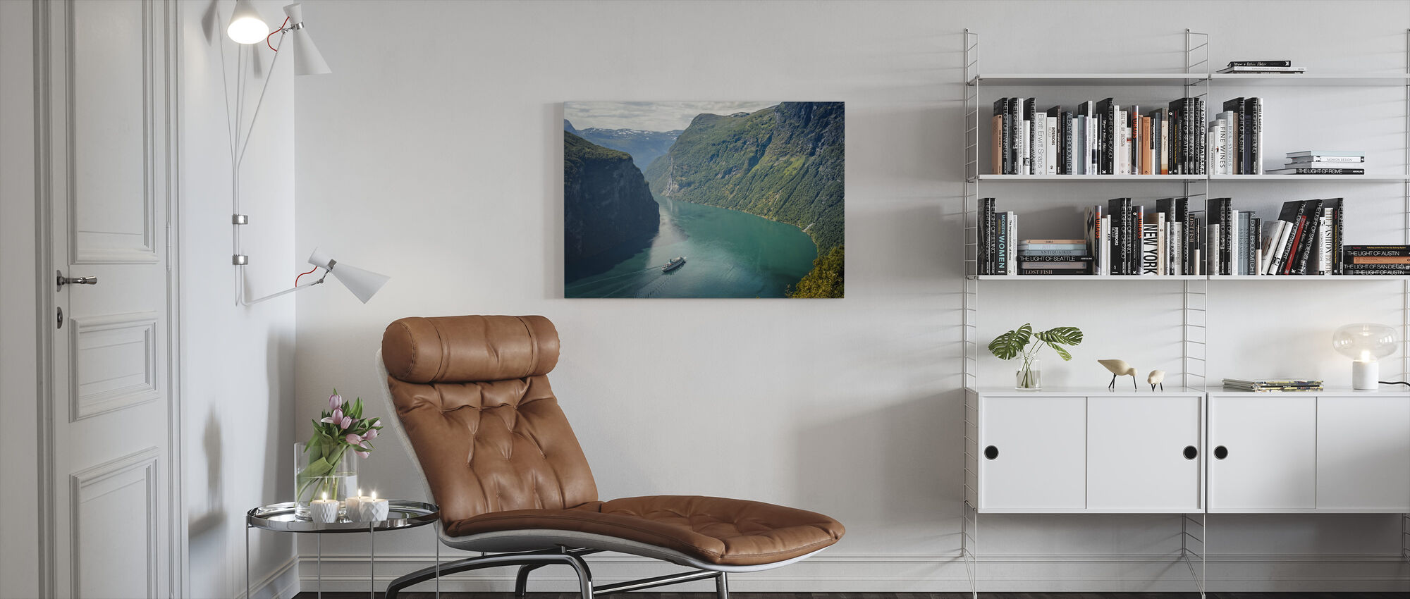 Green Water of Geirangerfjord, Norway - Canvas print - Living Room