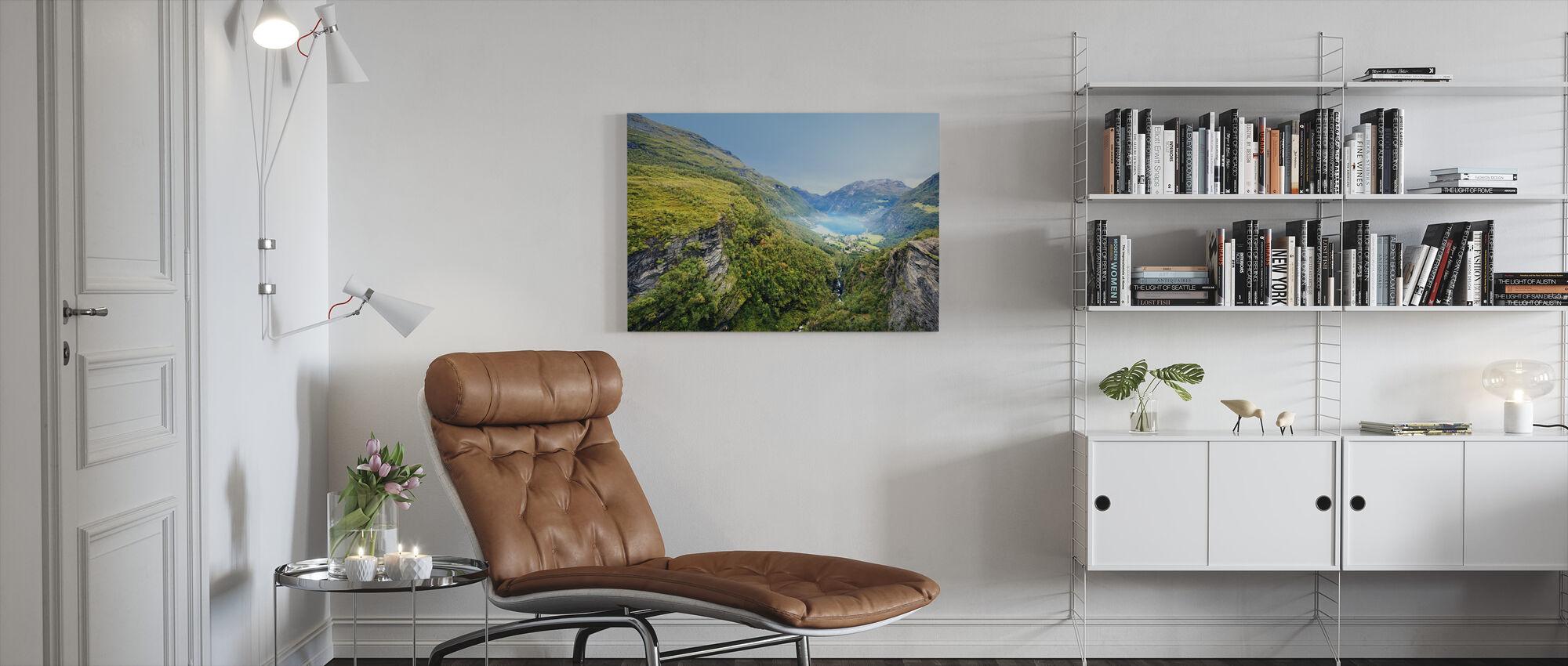 Cliffs around Geirangerfjord, Norway - Canvas print - Living Room
