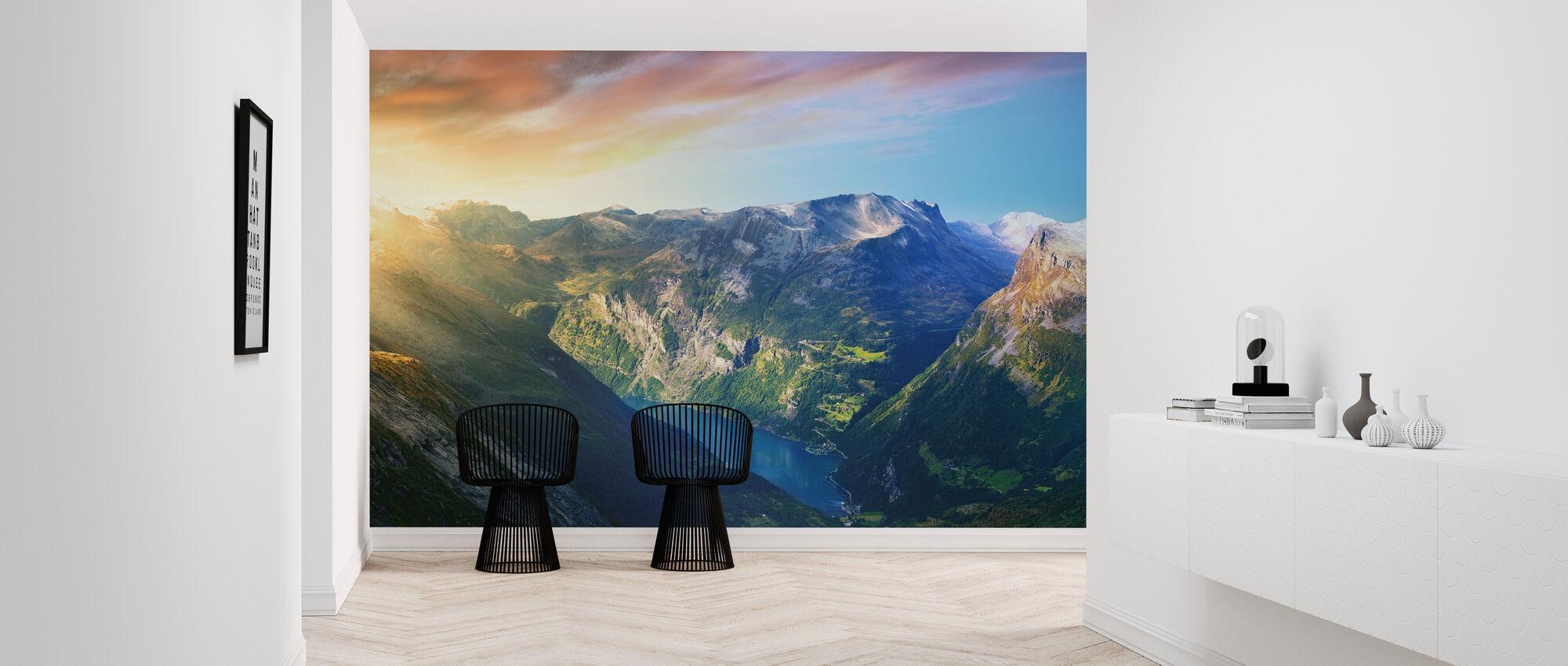 Sunrise over Geirangerfjord, Norway - Wallpaper - Hallway