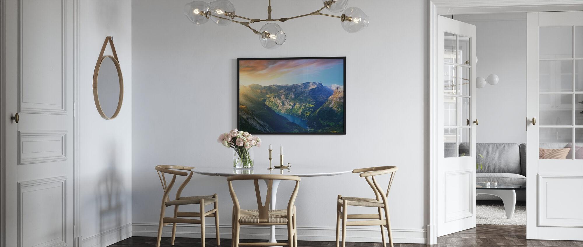 Sunrise over Geirangerfjord, Norway - Framed print - Kitchen
