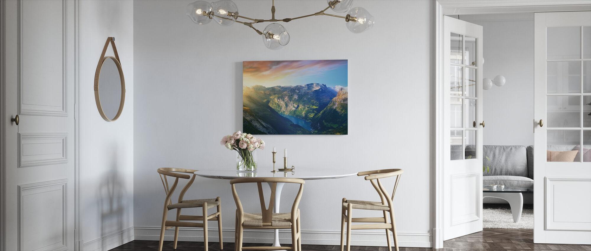 Sunrise over Geirangerfjord, Norway - Canvas print - Kitchen
