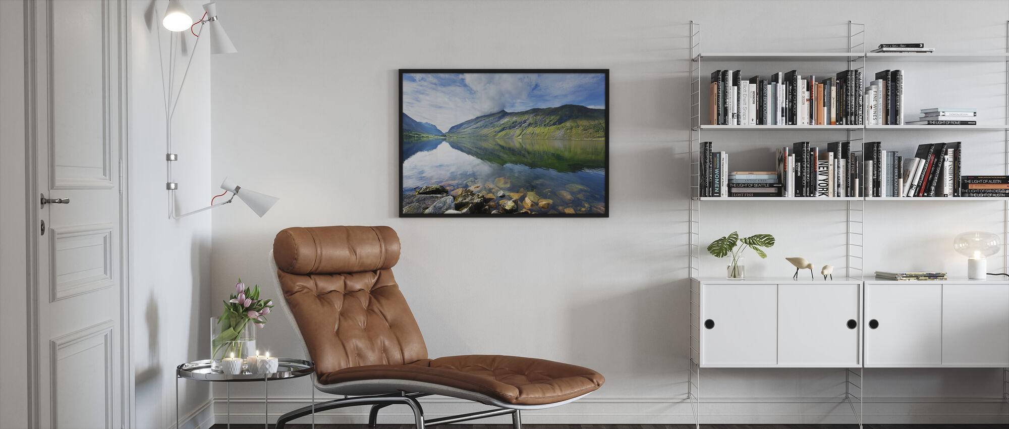 Eidsdal Lake in Geiranger, Norway II - Framed print - Living Room