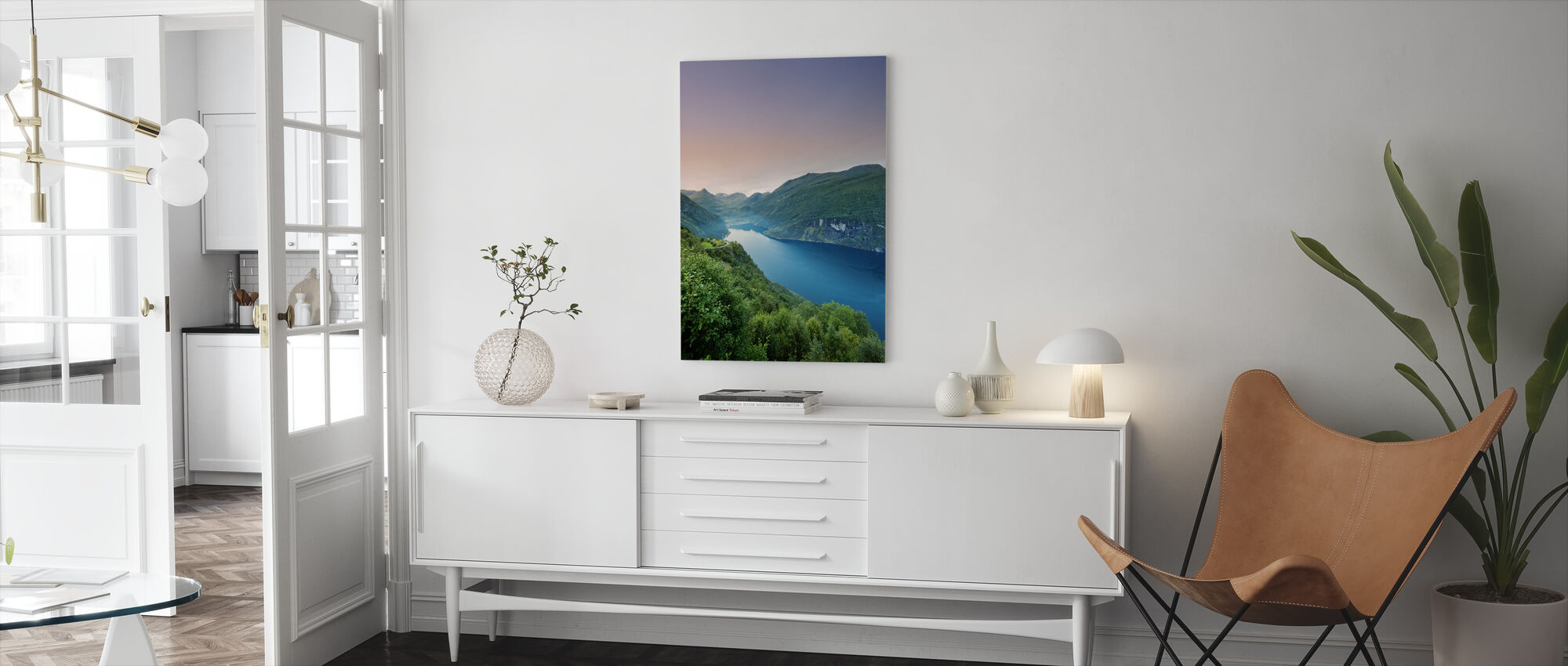 Purple Sky over Geirangerfjord, Norway - Canvas print - Living Room