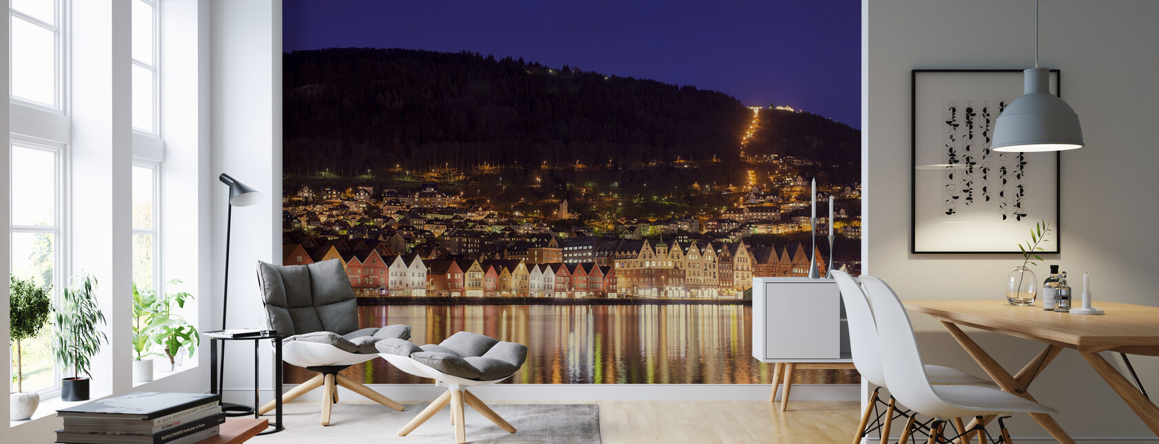 Fargerike Hus i Bergen, Norge - Tapet - Stue