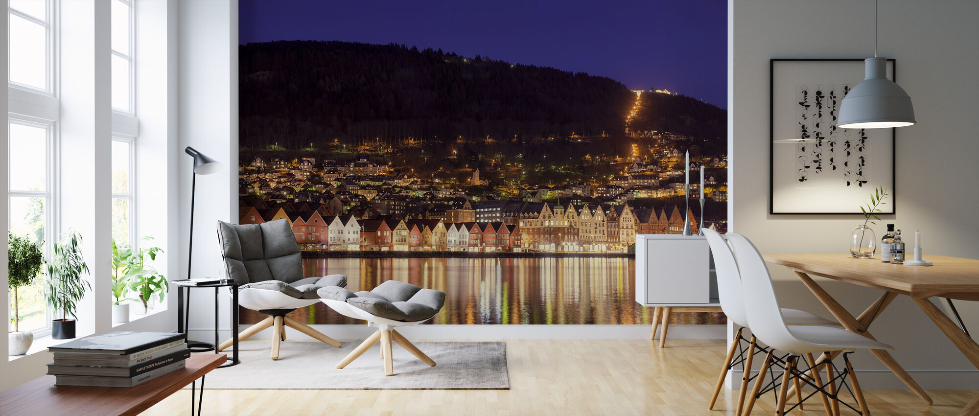 Colorful Houses of Bergen, Norway - Wallpaper - Living Room
