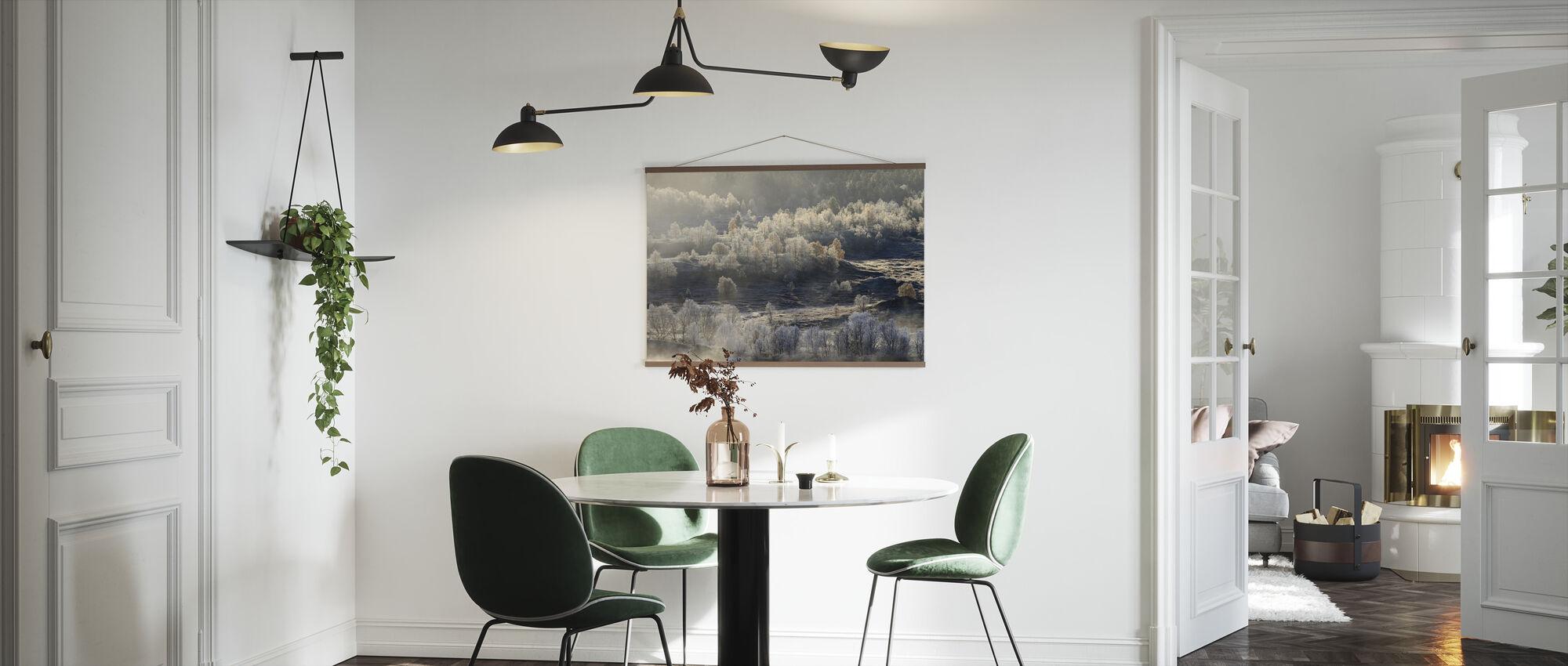 Norsk landskap dekket i Høstfrost - Plakat - Kjøkken