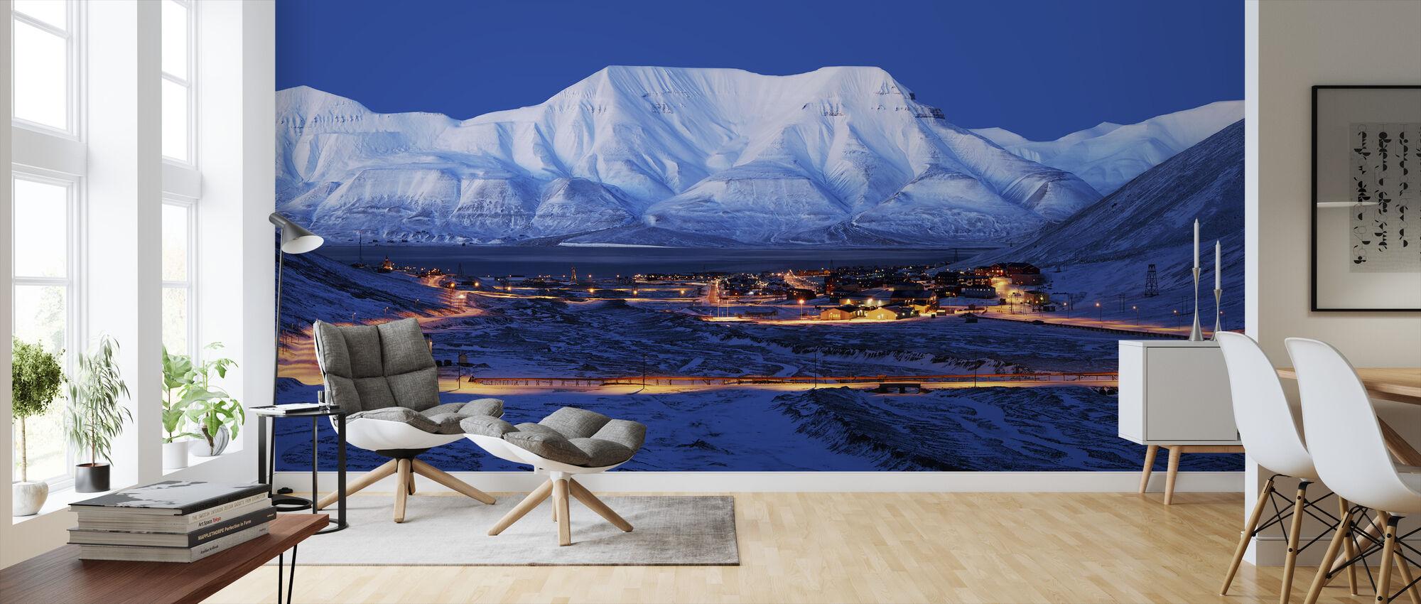 Longyearbyen by Night, Svalbard III - Wallpaper - Living Room
