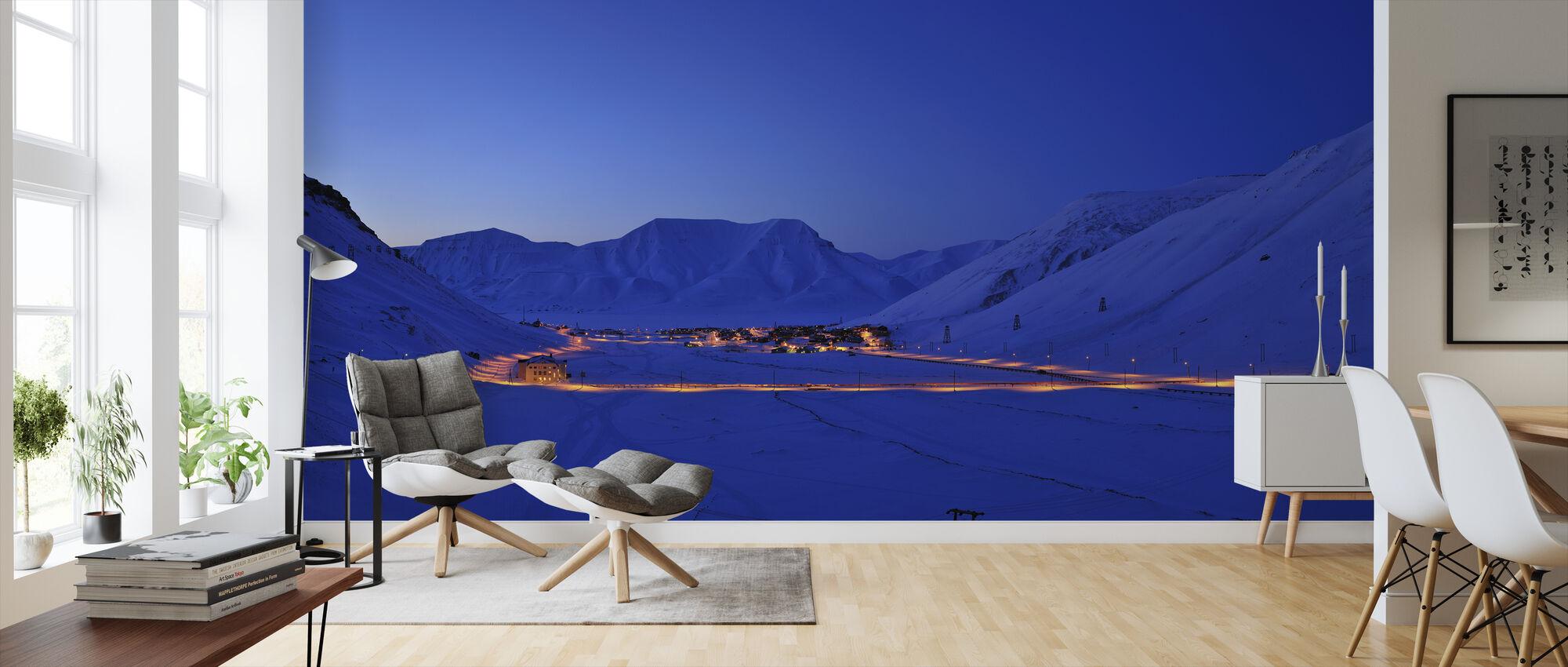 Longyearbyen by Night, Svalbard IIII - Wallpaper - Living Room