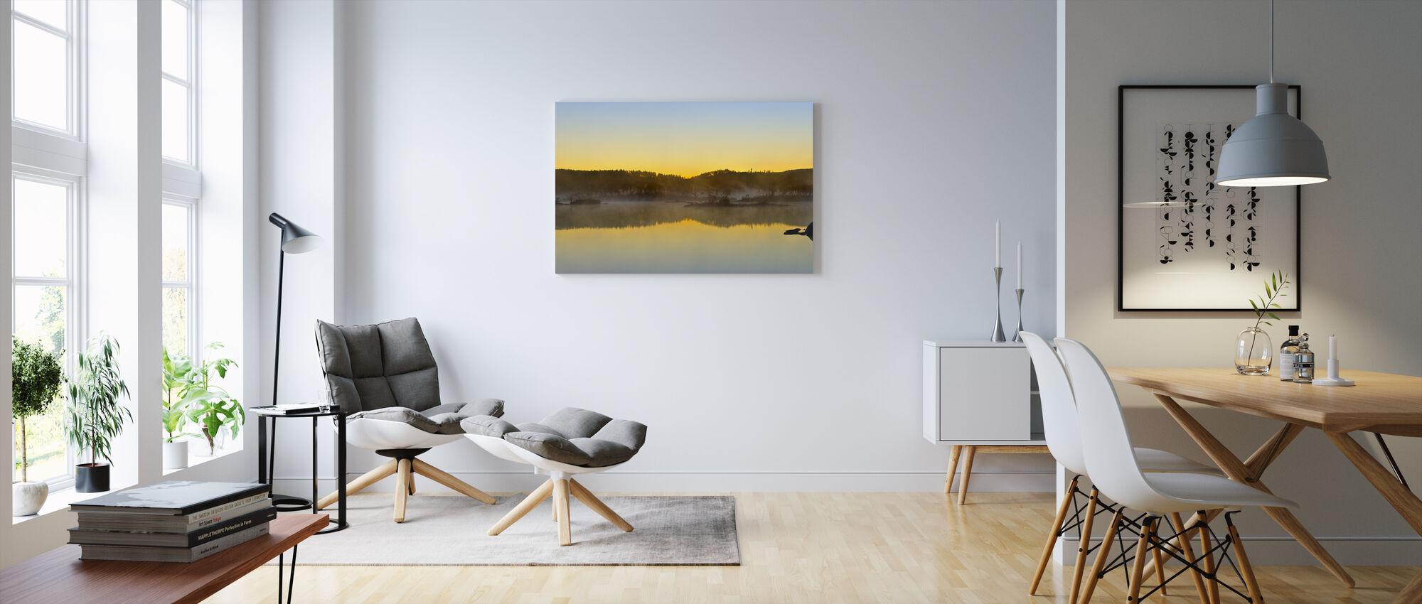 Yellow Dusk, Senja Norway - Canvas print - Living Room