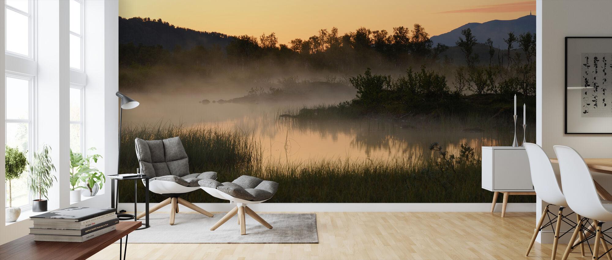 Evening Fog over Lake, Senja Norway - Wallpaper - Living Room