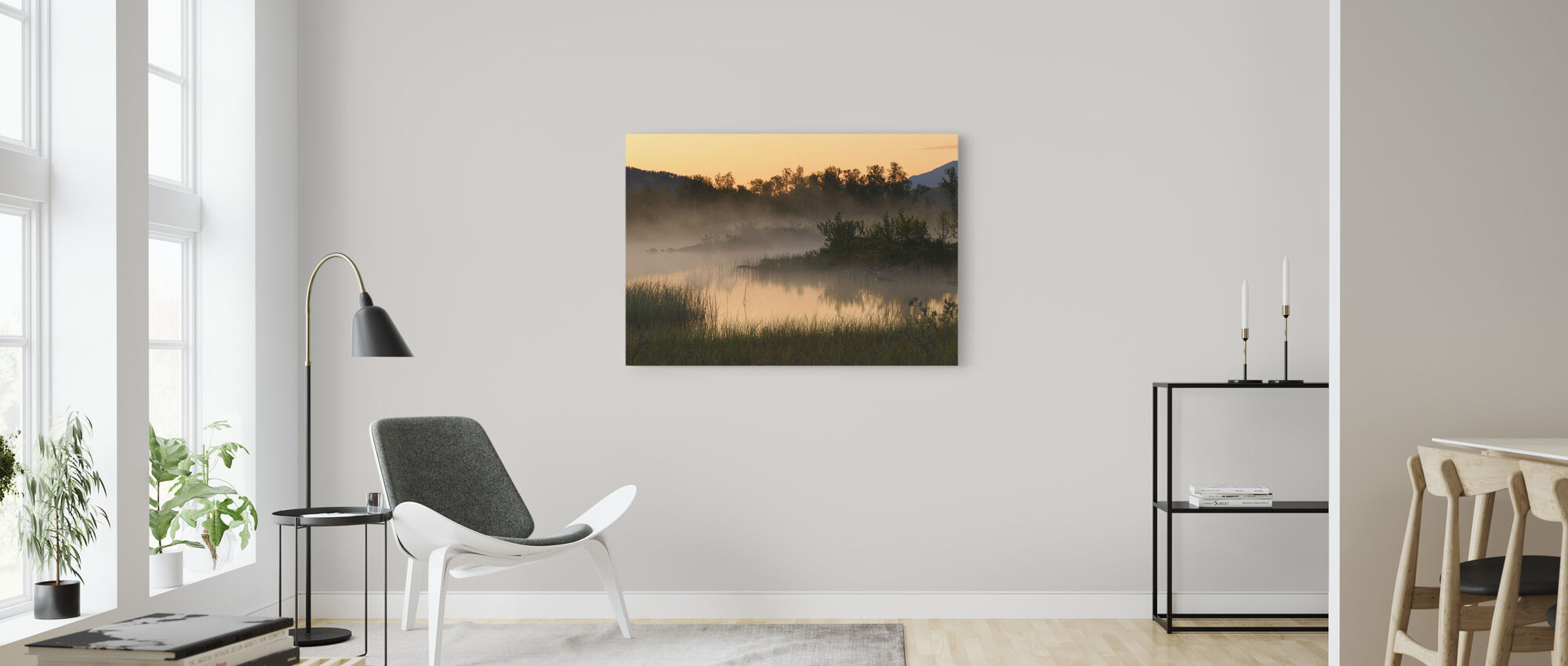 Evening Fog over Lake, Senja Norway - Canvas print - Living Room
