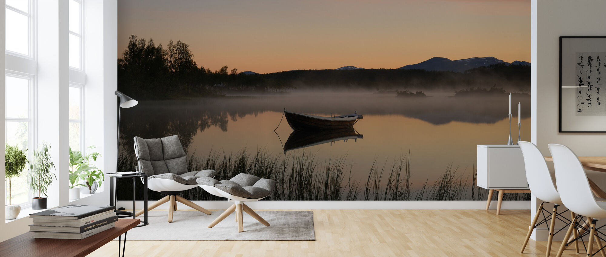 Peaceful Evening at the Lake, Senja Norway - Wallpaper - Living Room