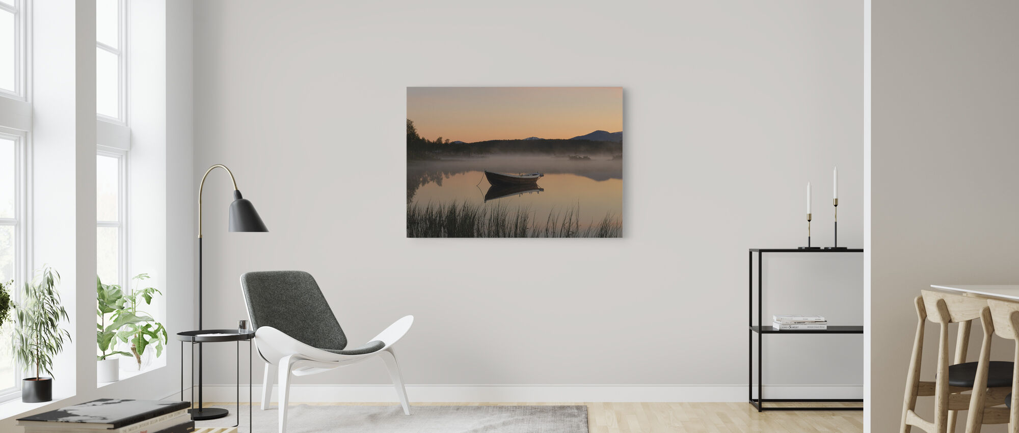 Fredlig kväll vid sjön, Senja Norge - Canvastavla - Vardagsrum
