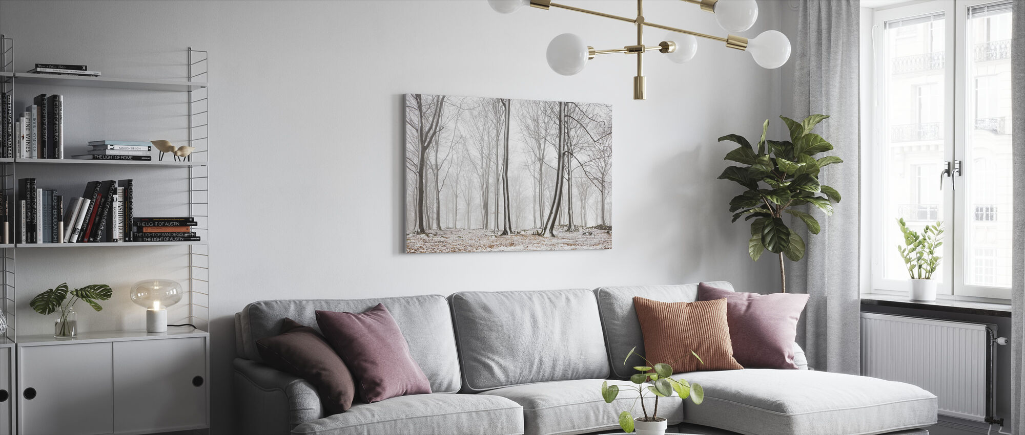 Kale stengels in de winter - Canvas print - Woonkamer