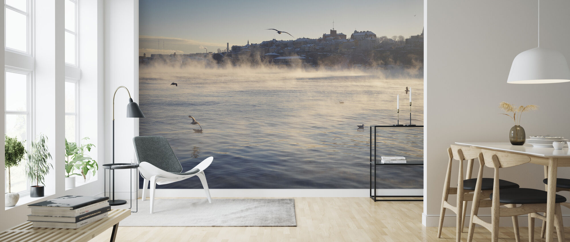 Fog over Stadsgårdskajen in Stockholm - Wallpaper - Living Room