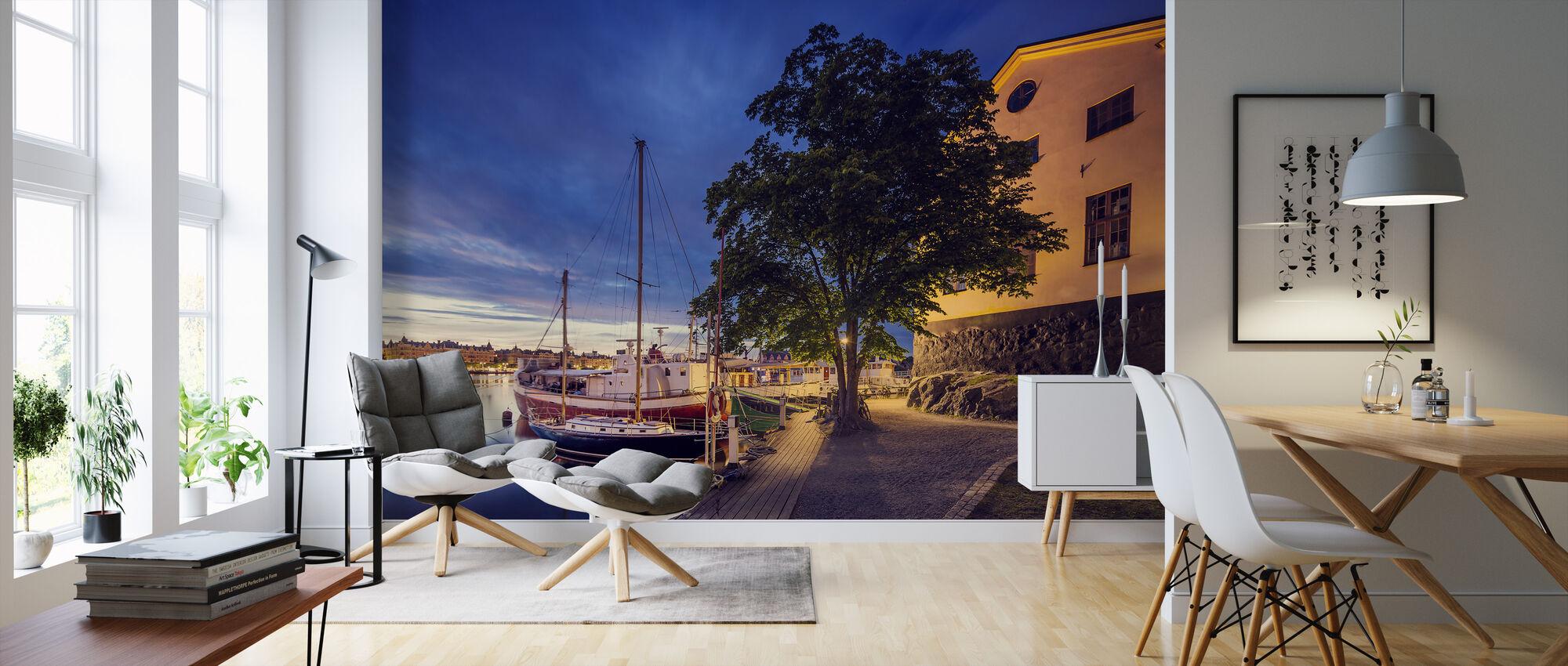 Båtar på Dusk, Stockholm - Tapet - Vardagsrum