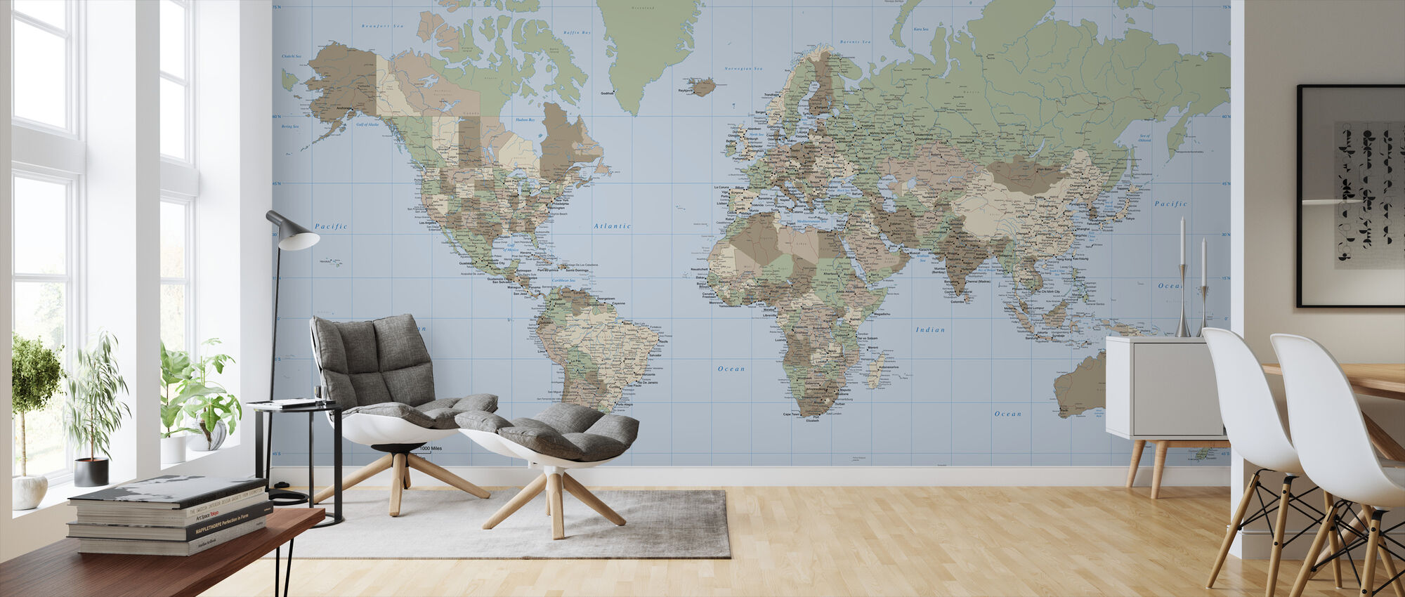 World Map Vintage - Wallpaper - Living Room