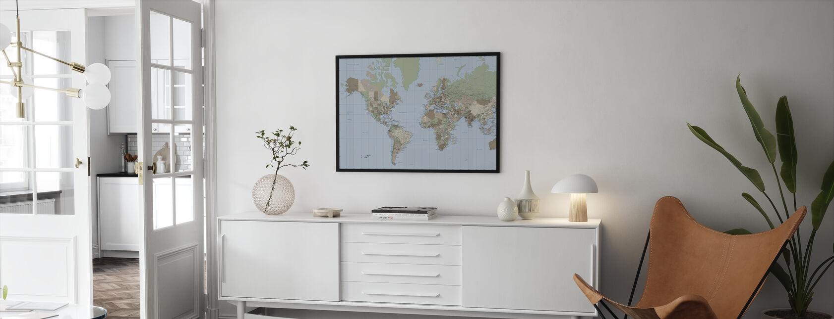 World Map Vintage - Innrammet bilde - Stue