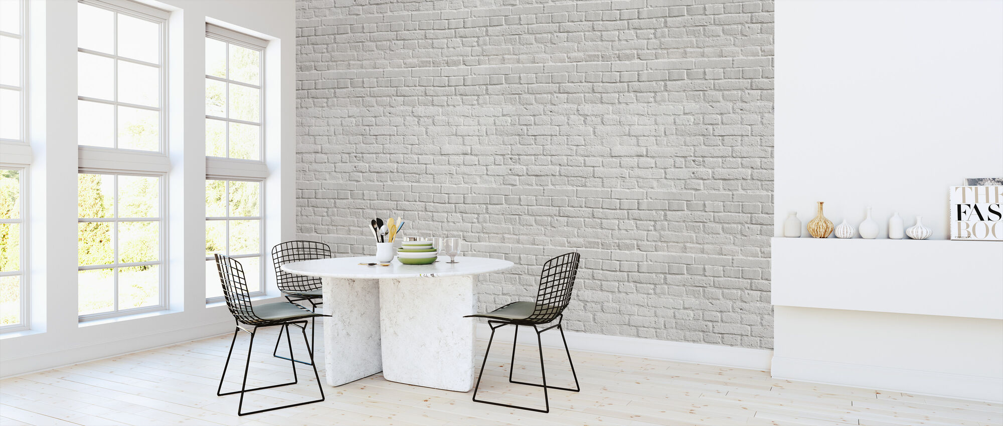 White Amsterdam Brick Wall - Wallpaper - Kitchen
