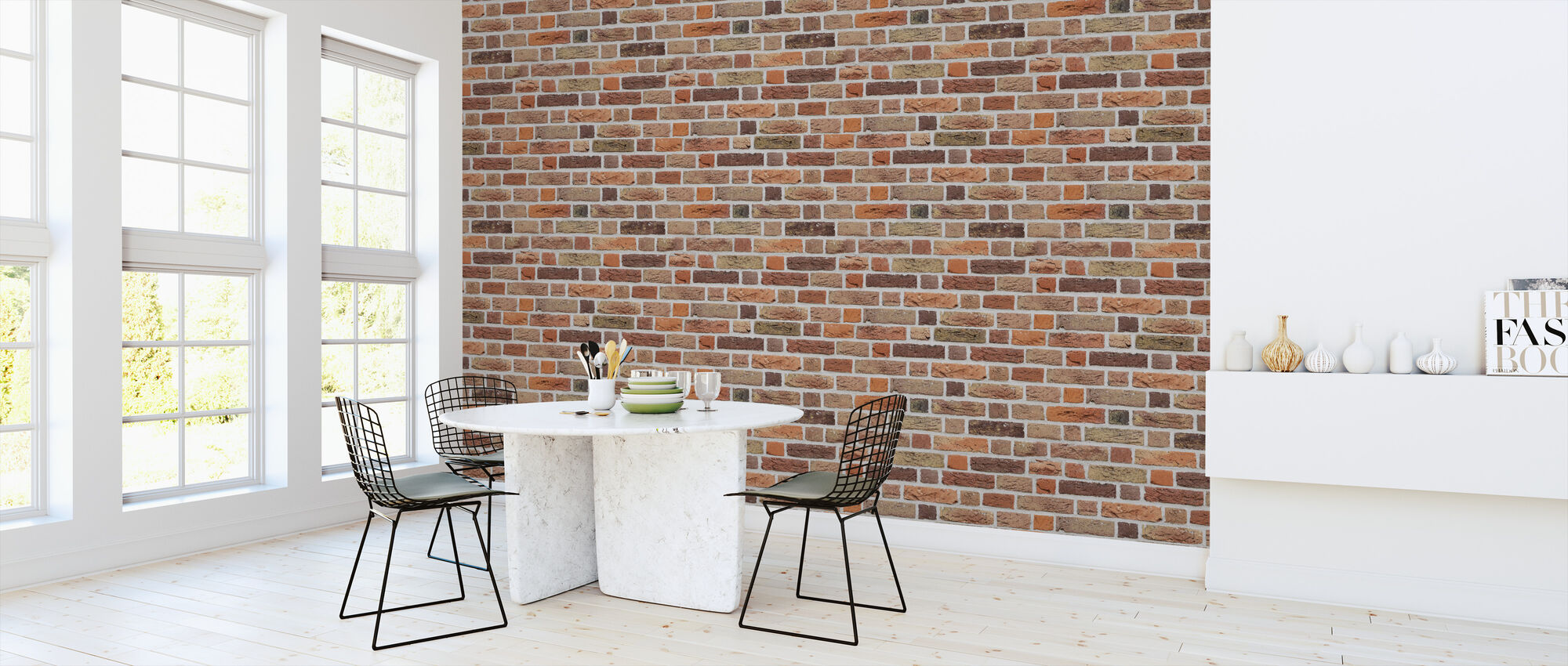 Varied Brick Wall - Wallpaper - Kitchen