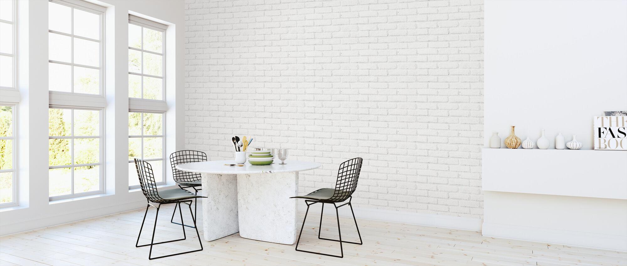Old White Brick Wall - Wallpaper - Kitchen