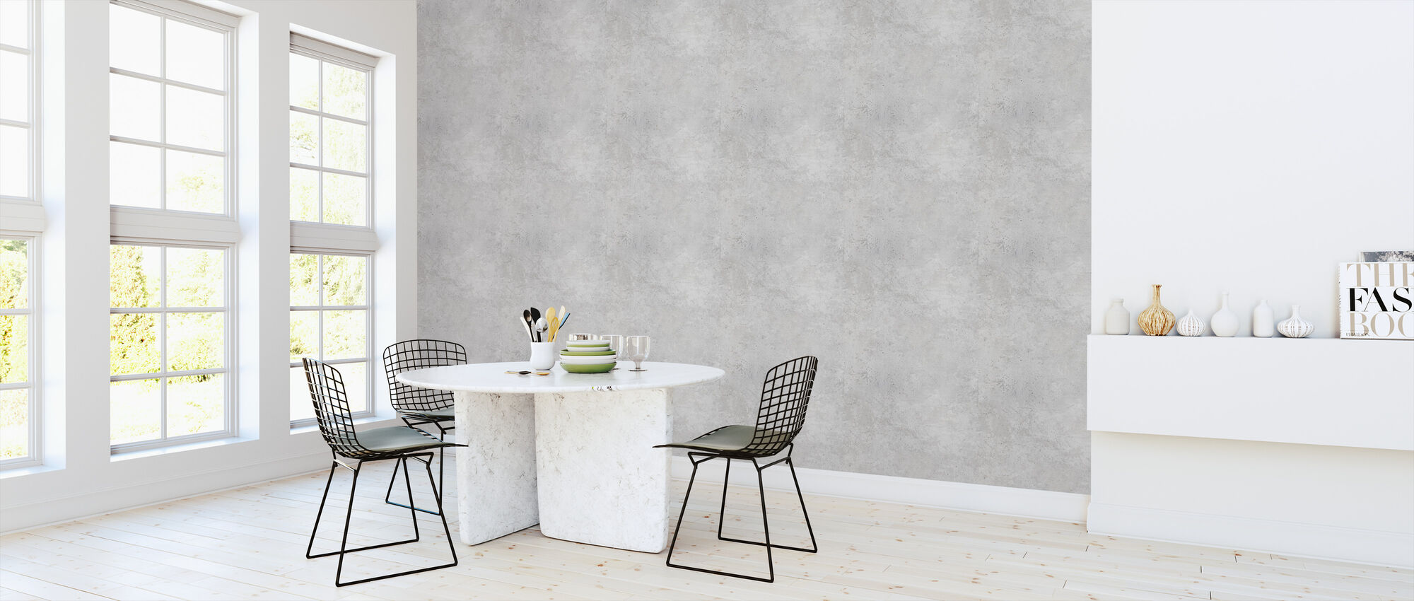 Light Grey Concrete Wall - Wallpaper - Kitchen