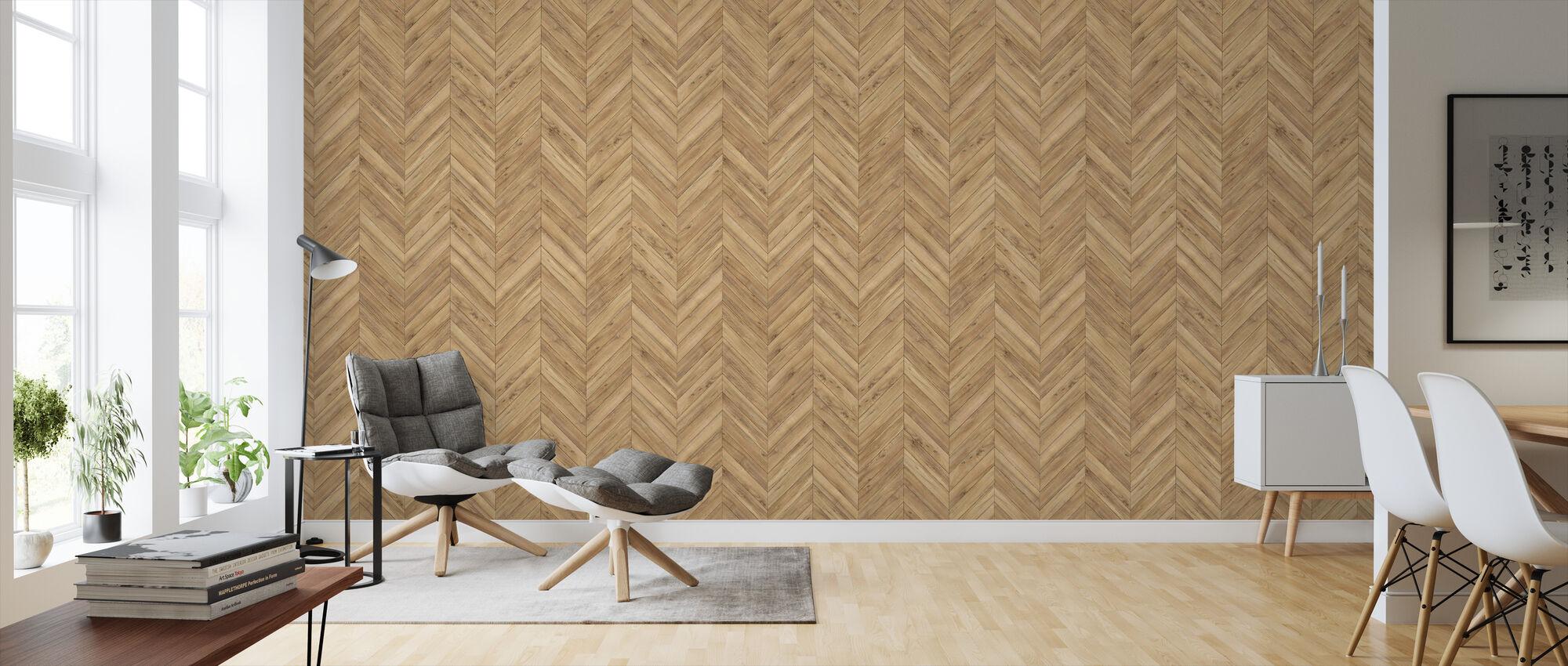 Chevron Parquet - Wallpaper - Living Room