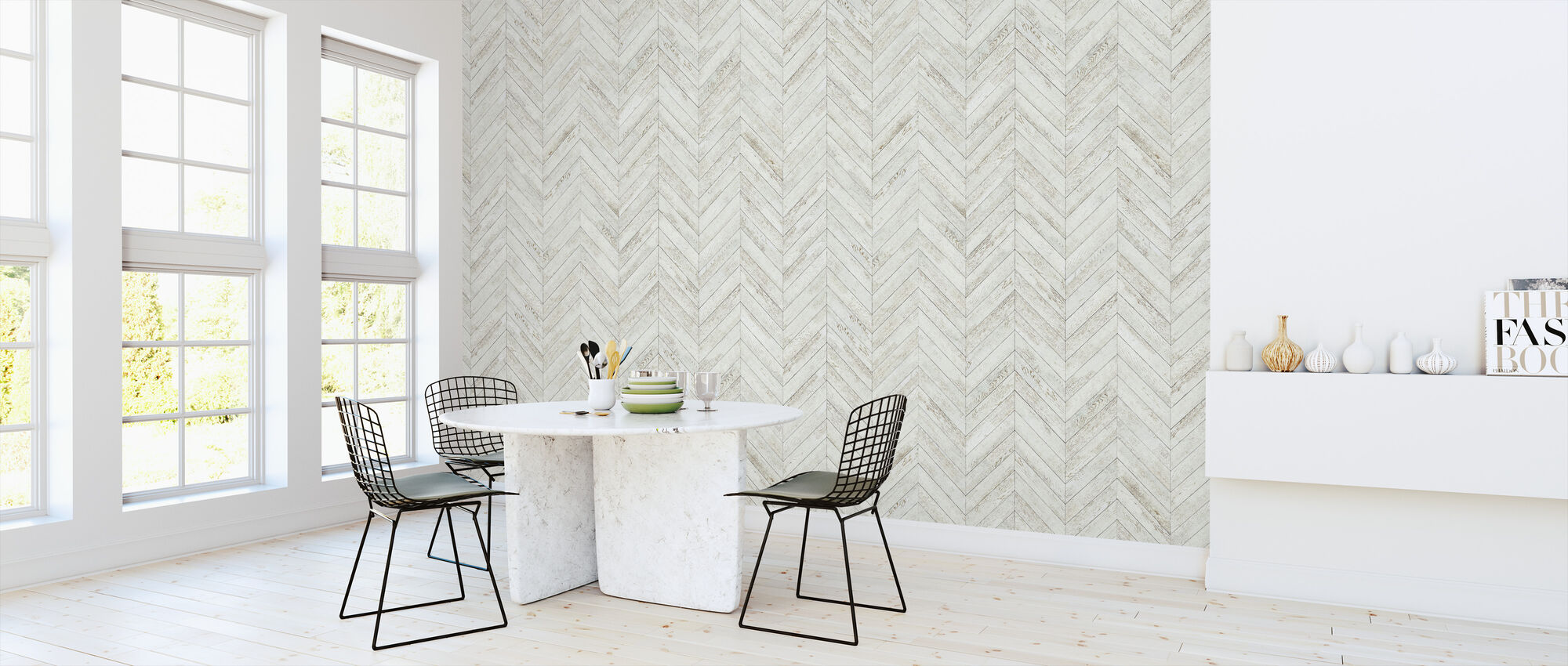 Chevron Parquet - White - Wallpaper - Kitchen