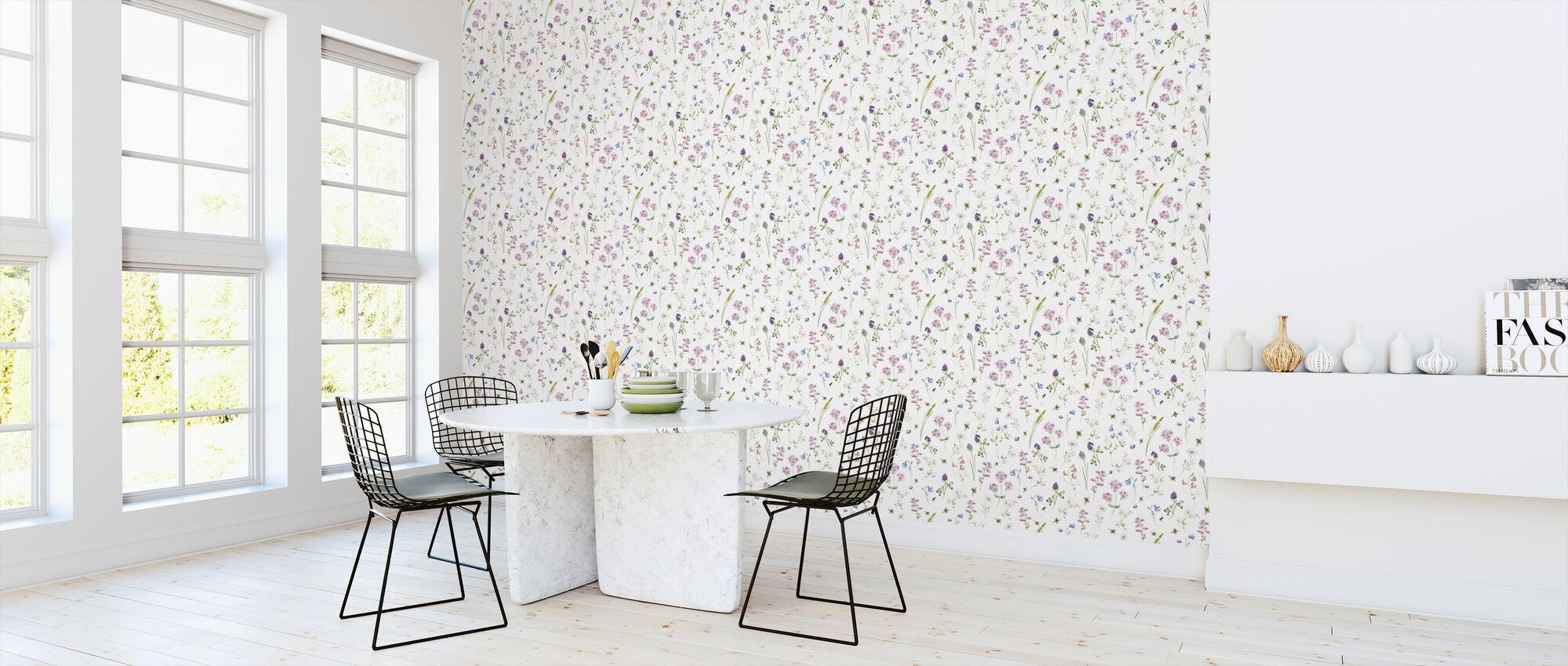 Wildblumen Aquarell Muster - Tapete - Küchen