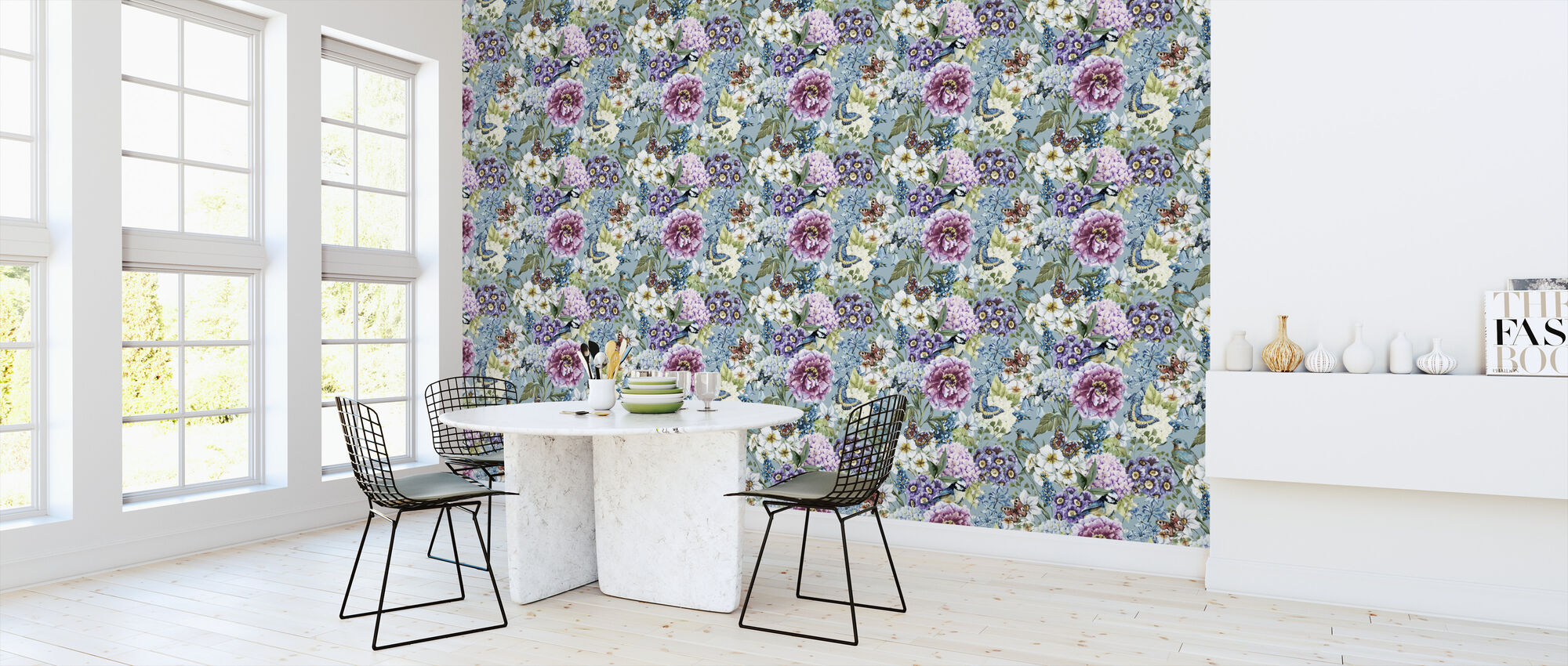 Vintage Floral Watercolor Pattern Decorate With Wallpaper