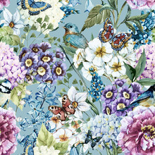 Tapet - Vintage Floral Watercolor Pattern