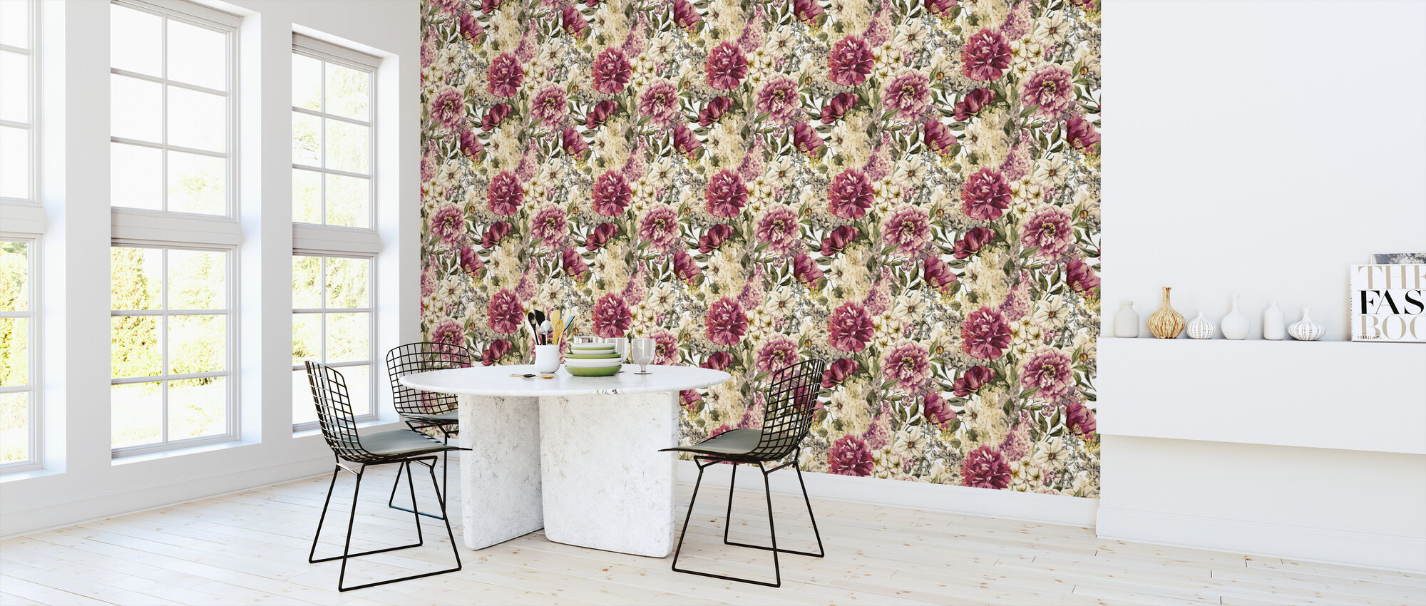 Spring Flowers Watercolor Pattern - Wallpaper - Kitchen