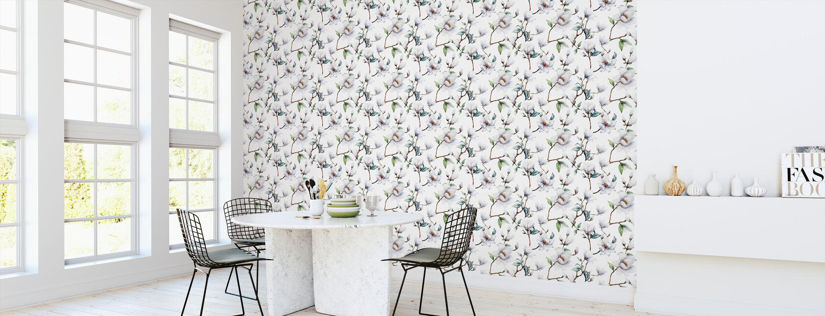 White Magnolia Watercolor Pattern - Wallpaper - Kitchen