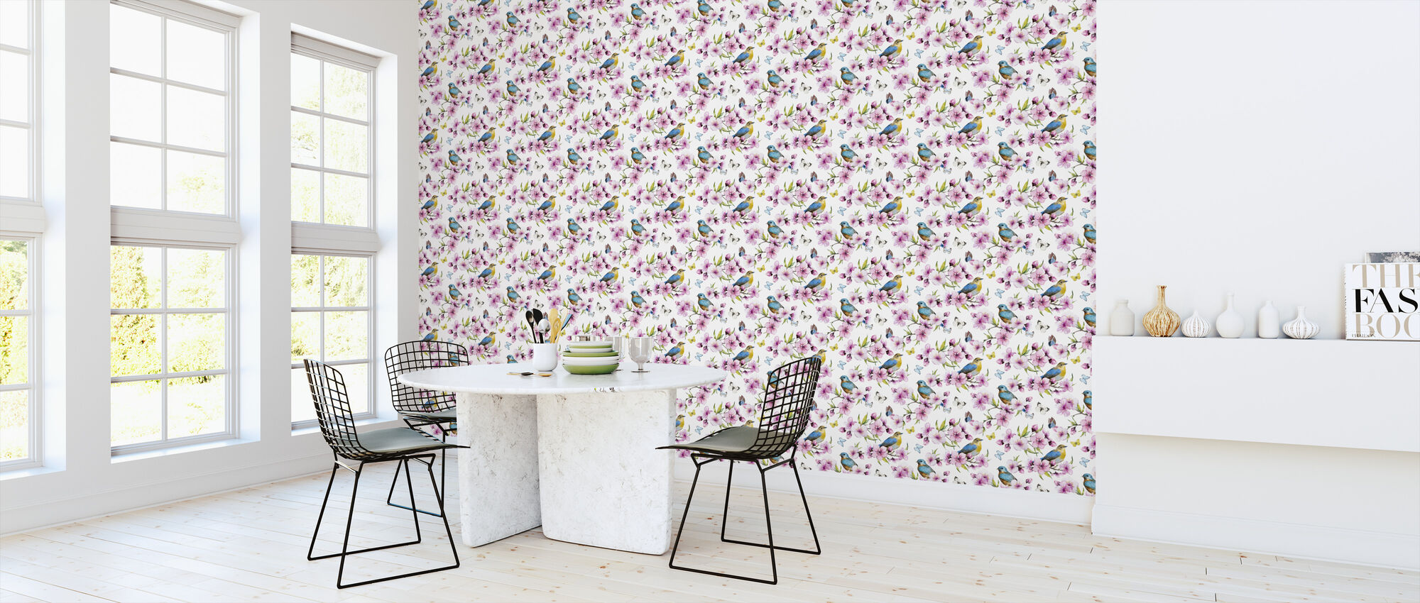 Cherry Blossoms Watercolor Pattern - Wallpaper - Kitchen