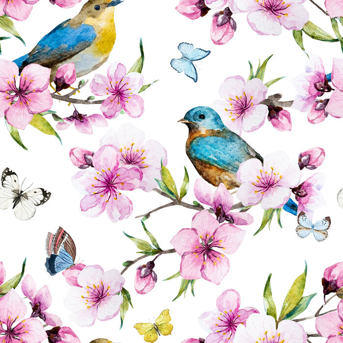 Cherry blossoms watercolor pattern papel pintado for Papel pintado personalizado