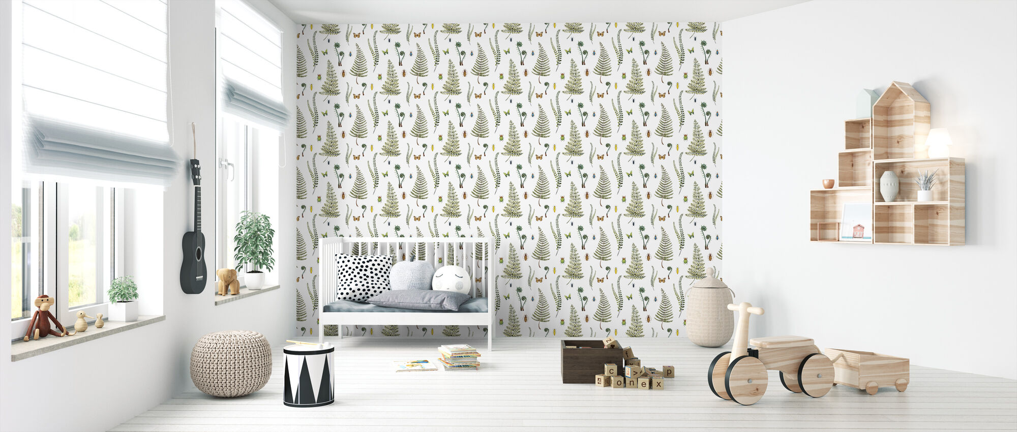 Botanical Watercolor Pattern - Wallpaper - Nursery