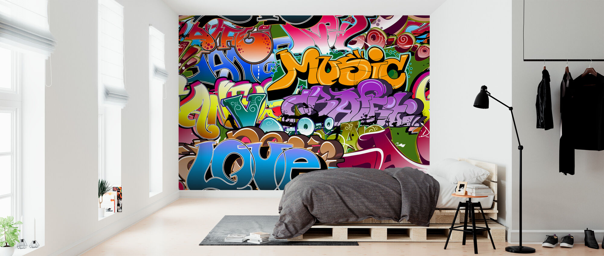 Music Love Graffiti - Wallpaper - Bedroom