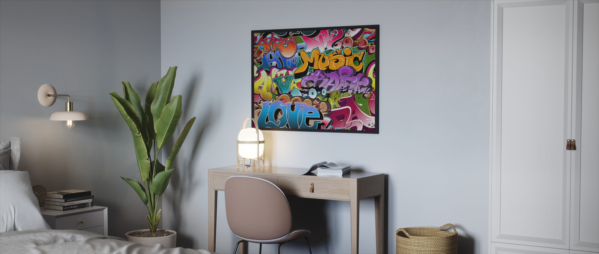 Music Love Graffiti - Framed print - Bedroom