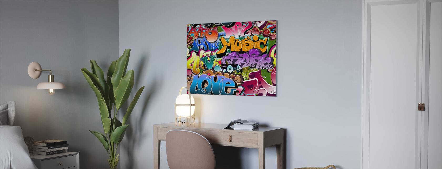 Musik Liebe Graffiti - Leinwandbild - Büro