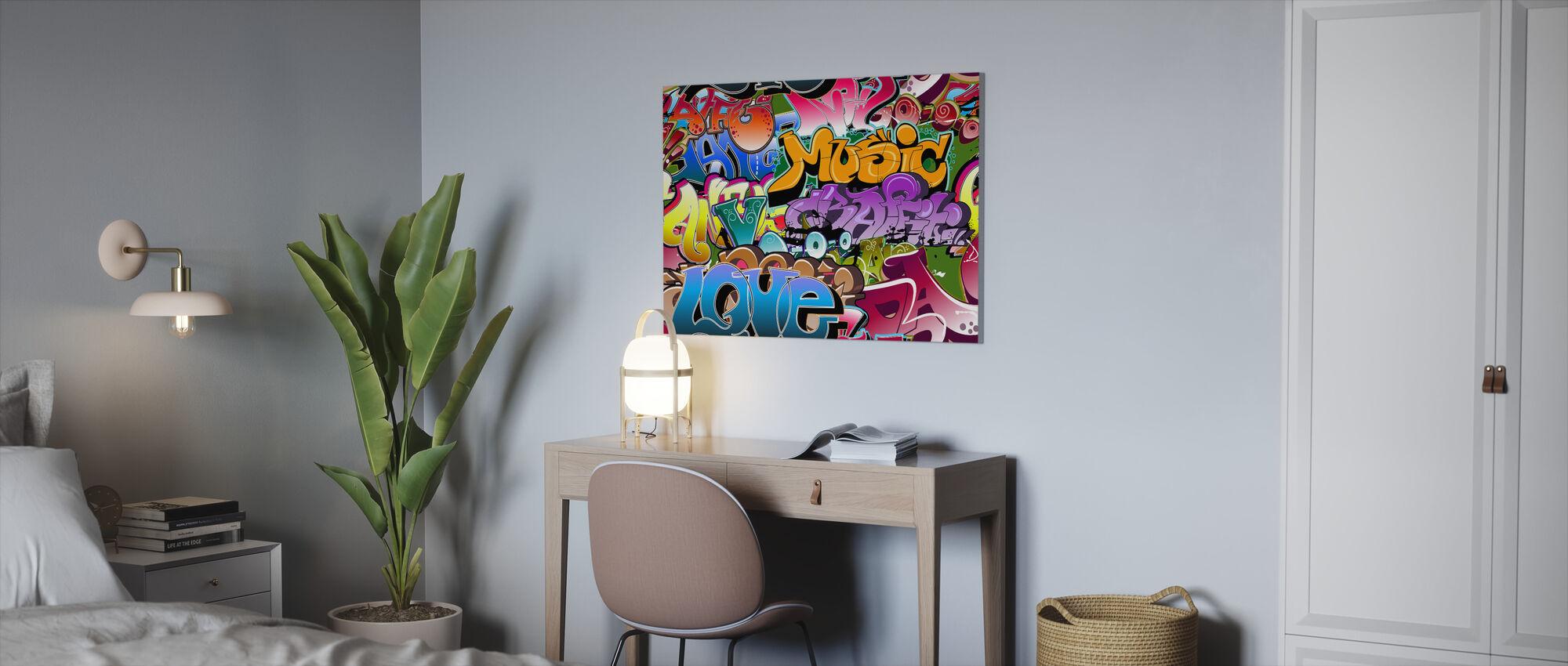 Music Love Graffiti - Canvas print - Office