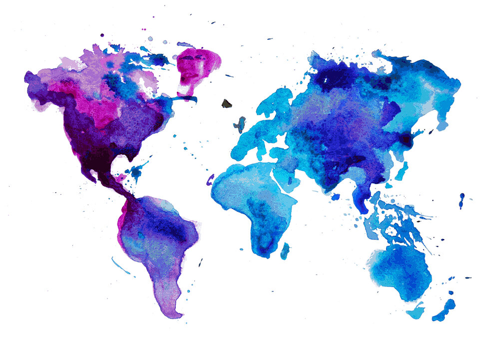 Watercolor World Map Blue Popular Wall Mural Photowall