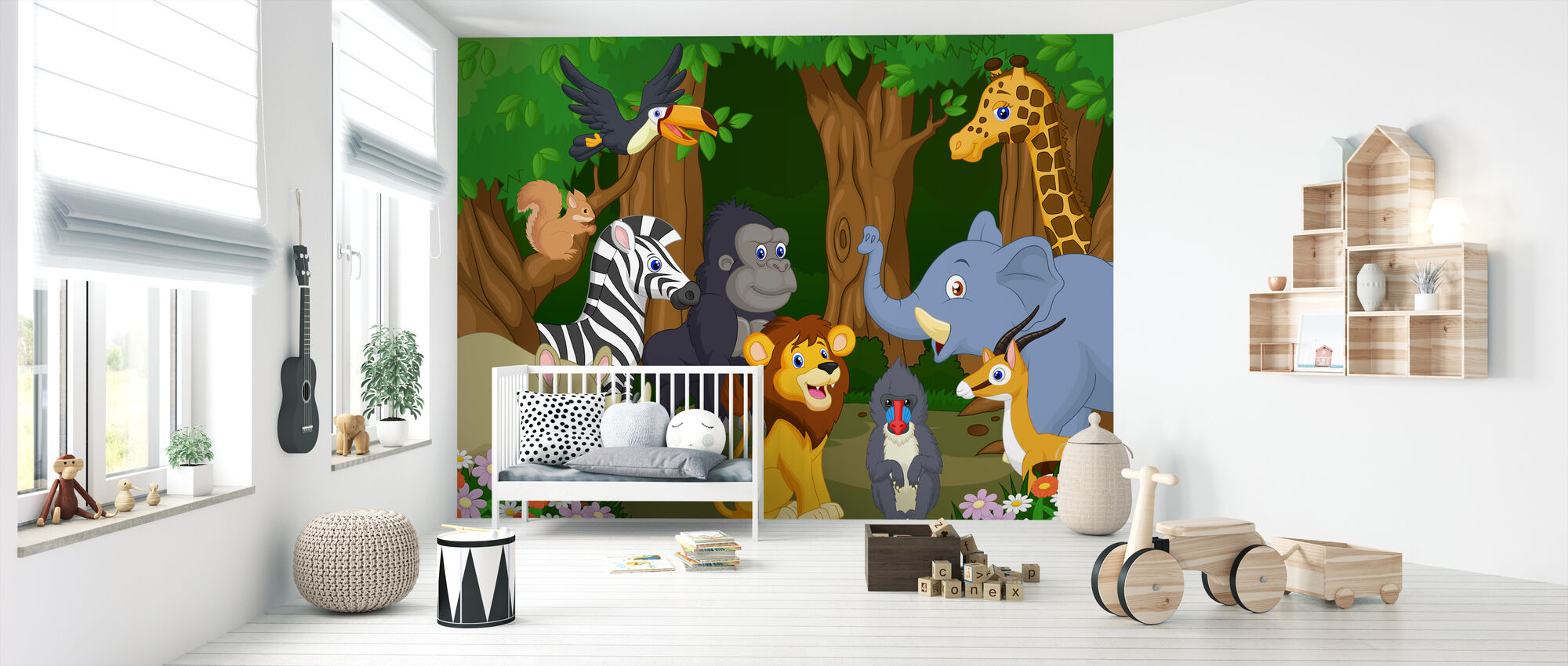 Wild Animal Cartoon - Wallpaper - Nursery