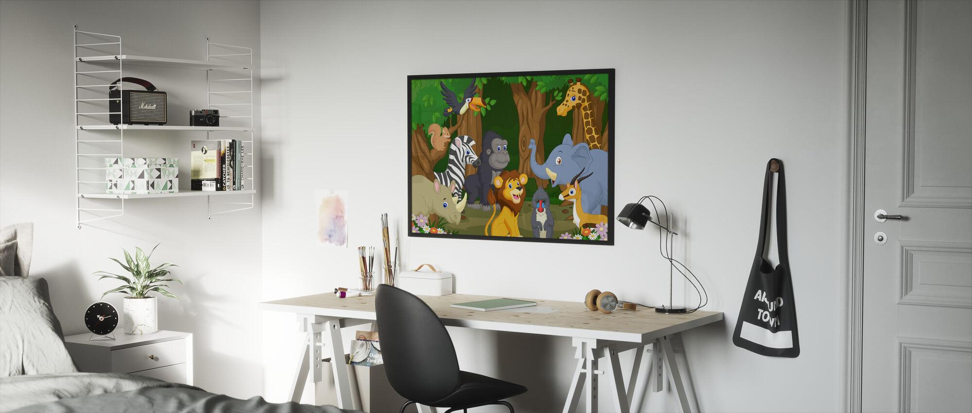 Wild Animal Cartoon - Framed print - Kids Room