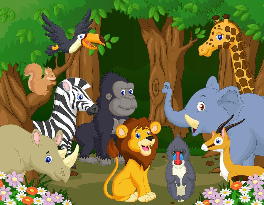 Wild Animal Cartoon Style With A Poster Photowall