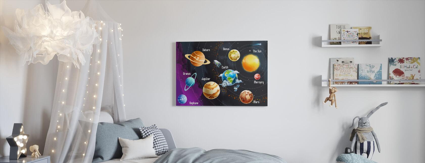 Solsystem planeter - Billede på lærred - Børneværelse