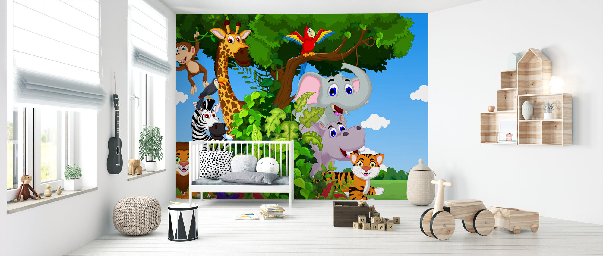 Animals in Forest Cartoon - Wallpaper - Nursery