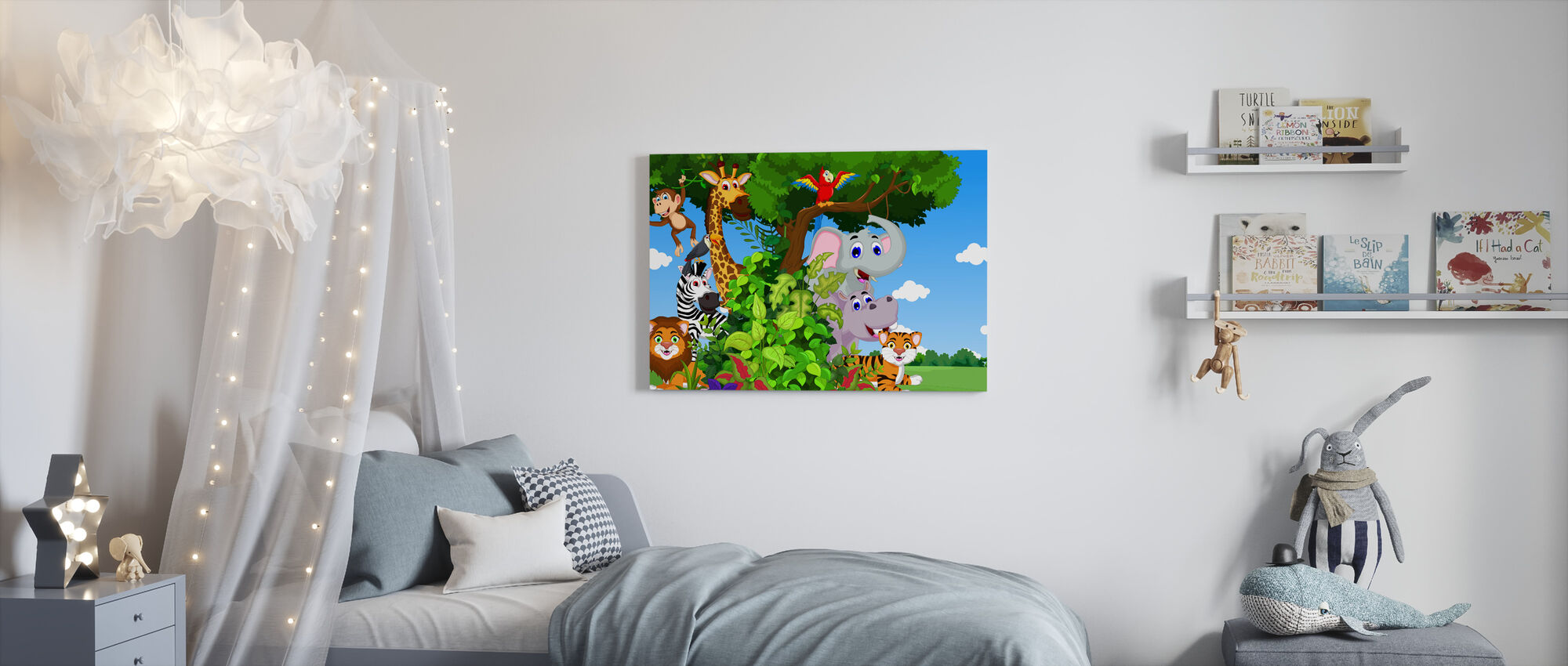 Animals in Forest Cartoon - Canvas print - Kids Room