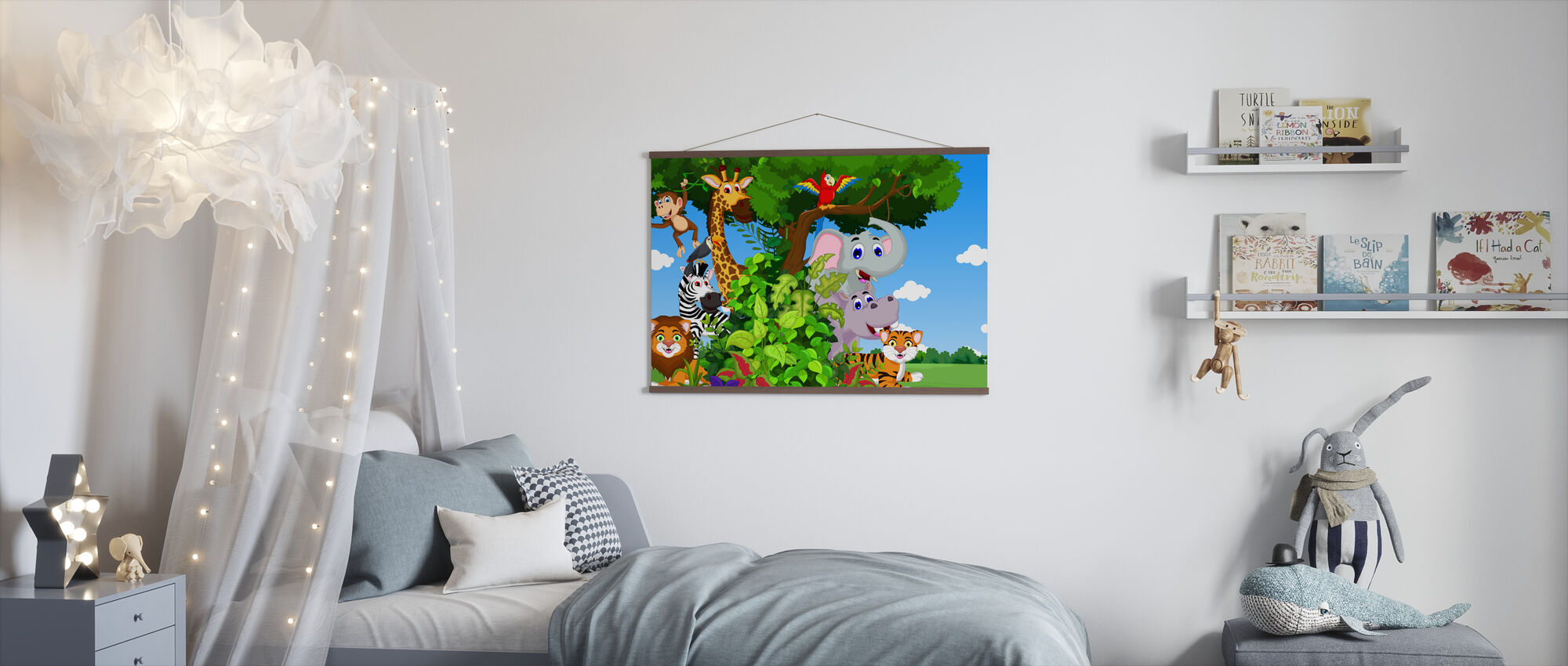 Animals in Forest Cartoon - Poster - Kids Room