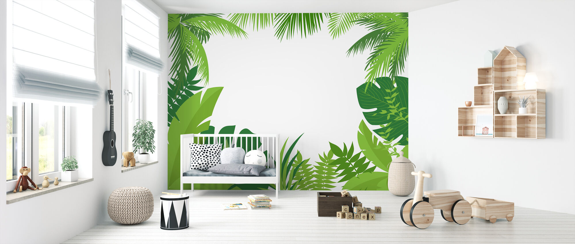 Palm Trees and Leaves - Wallpaper - Nursery